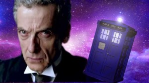 Peter Capaldi as the 12th Doctor, with the Tardis