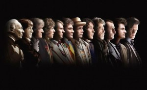 All twelve Doctors in a line.