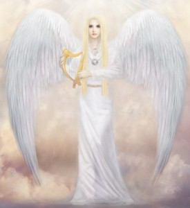 A blond-haried angel with huge wings and a small Celtic harp