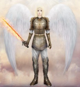 A beautiful blond-haired angel in armour, with a flaming sword.