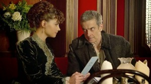 The Doctor and Clara in Victorian dress at a restaurant.