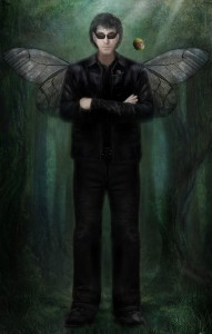 Tubal Cain the fairy, in black leather jacket and shades, with a scowl and folded arms