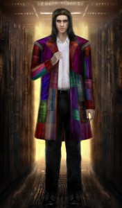 The demon Hammersmith in a multi-coloured coat, and with shoulder length hair