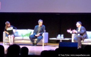 Coleman, Capaldi and 'the non-star, Steven Moffat, at the Cardiff Deep Breath Q&A.