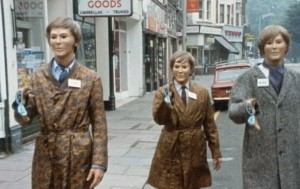 Autons in 1970s clothes on the streets of London