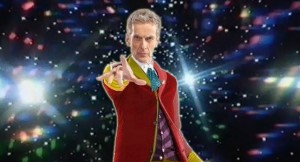 Peter Capaldi dressed in Sixth Doctor outfit.