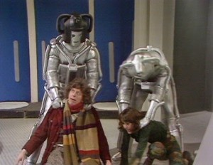 Cybermen grab the Fourth Doctor and Sarah-Jane