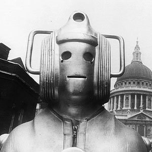 A Cyberman from 1969 with St Paul's Cathedral in the background.
