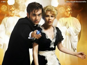 Publicity shot from Voyage of the Damned, with David Tennant as The Doctor and Kylie Minogue as Astrid.