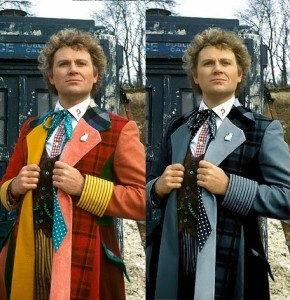 The Sixth Doctor in both his onscreen coat of many colours, and the blue variant he wears in later Big Finish stories.