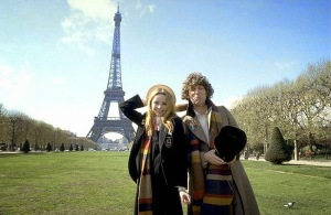 Tom Baker and Lalla Ward as the Doctor and Romana, by the Eiffel Tower, Paris, in City of Death