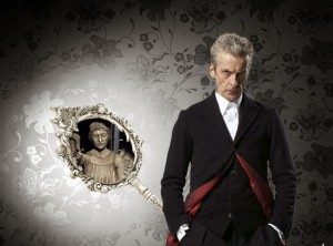 Peter Capaldi with a hand mirror, out of which stares a Weeping Angel