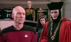 Picard and Q from Encounter at Farpoint.